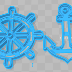 STL files cortante galletas ancla y timon, cookies cutter anchor and  rudder, abauerenator