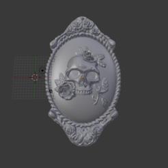 Descargar archivo 3D Camafeo Craneo con Flores, abauerenator