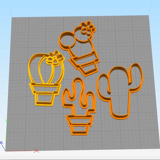 Download 3D printing models kit of 4 cactus cookies cutter, abauerenator