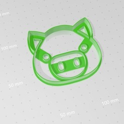 Cerdito.jpg Download STL file Piggy Face, cookies cutters • 3D printer design, abauerenator