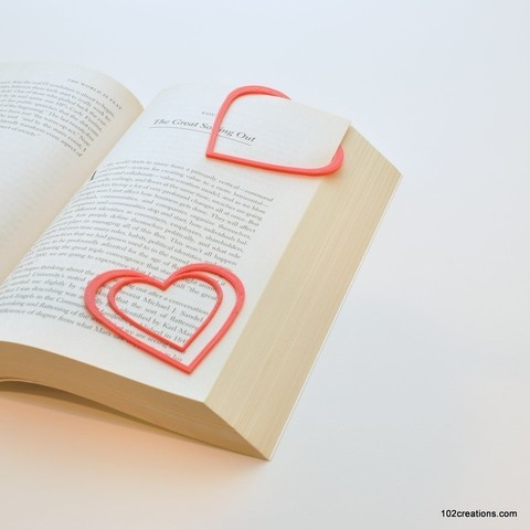 Download free 3D printing templates Heart Bookmark, 102Creations