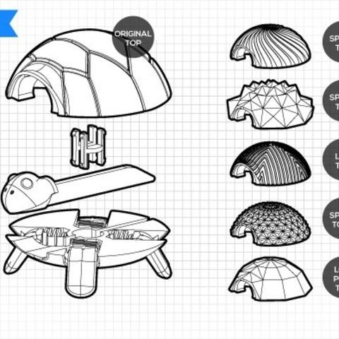 exploded.jpg Download free STL file Squishy Turtle • 3D print template, jakejake