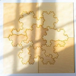 DSC01879.jpg Download free STL file [Mathematical Art/Toy] [Laser Cutting] Koch Snowflake Puzzle • 3D printable object, Kay