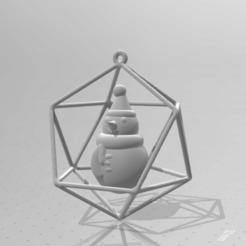 holiday_deco_3.PNG Télécharger fichier STL gratuit Décoration de Noël et des fêtes : Bonhomme de neige dans l'icosaèdre • Modèle pour imprimante 3D, Kay