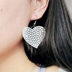 Download free 3D printer templates [Mathematical Art] Delaunay triangulation heart shape earrings, Kay