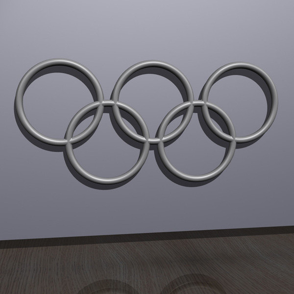 OlympicRings-White.jpg Download free STL file Olympic Rings - Wall Plaque • 3D printing object, djgeenen