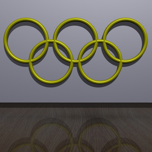 OlympicRings-Yellow.jpg Download free STL file Olympic Rings - Wall Plaque • 3D printing object, djgeenen