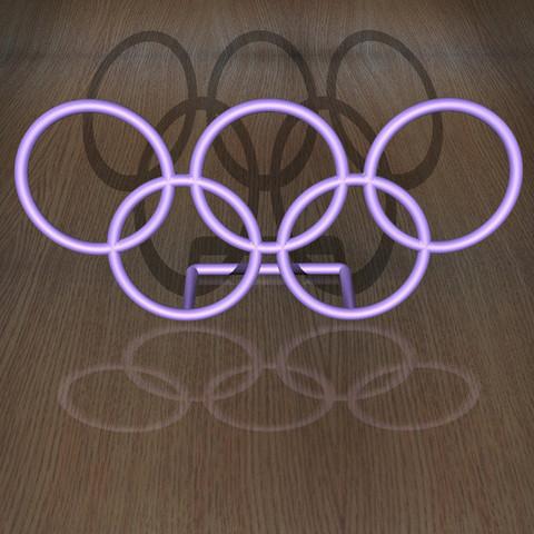OlympicRings-Desk-5-2-Blue.jpg Download free STL file Olympic Rings - Desk Plaque • 3D printable design, djgeenen