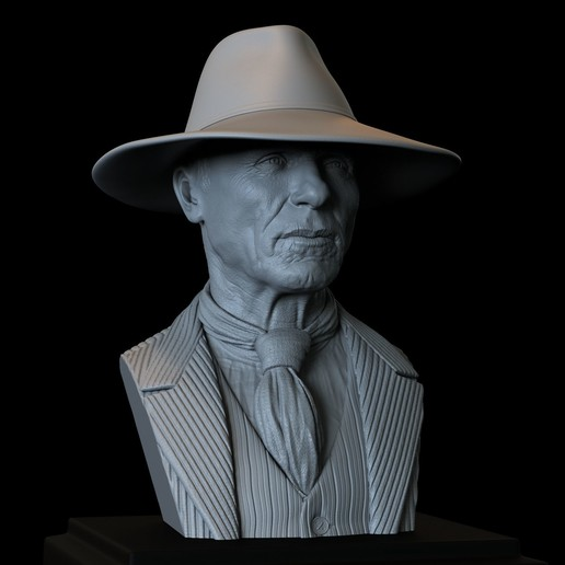 Download 3D printing designs Man In Black (Ed Harris) from Westworld, portrait, bust, 200mm, sidnaique