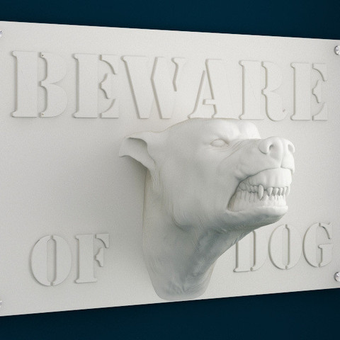 3d model Beware of Dog Sign - 12inches, sidnaique