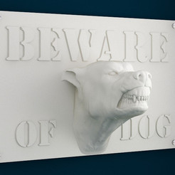 Download 3D printing templates Beware of Dog Sign - 12inches, sidnaique