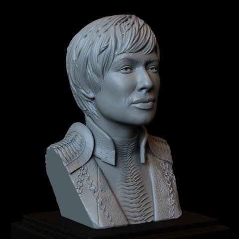 3D print model Cersei Lannister from Game of Thrones, Portrait, Bust 200mm tall, sidnaique