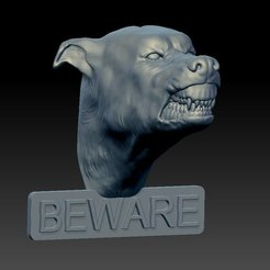 Download STL file Beware of Dog Sign • 3D print template, sidnaique