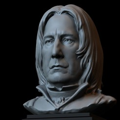 Download 3D printer model Severus Snape (Alan Rickman) 3d Printable Model, Bust, Portrait, Sculpture, 153mm tall, downloadable STL file, sidnaique