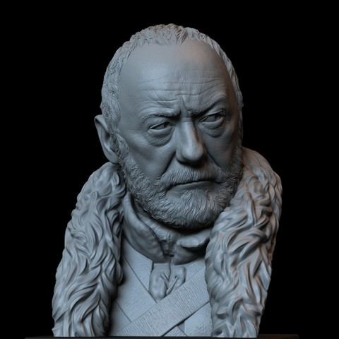 Download 3D printer designs Davos Seaworth from Game of Thrones, portrait, bust, 200mm, sidnaique