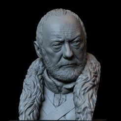 Descargar archivos 3D Davos Seaworth de Game of Thrones, retrato, busto, 200mm, sidnaique