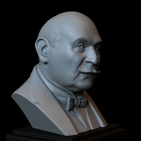 STL files Hercule Poirot (David Suchet) 3d Printable Model, Bust, Portrait, Sculpture, 153mm tall, downloadable STL file, sidnaique