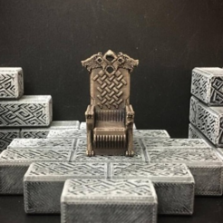 Free 3d print files Delving Decor: Wolf Throne (28mm/Heroic scale), Dutchmogul