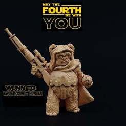 Descargar STL gratis Wunn-To, Cazador de recompensas Ewok, Dutchmogul