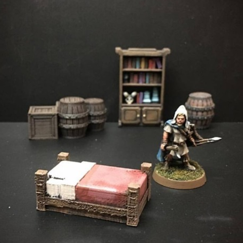 Download free STL file Delving Decor: Inn Bed (28mm/Heroic scale) • 3D printable object, Dutchmogul