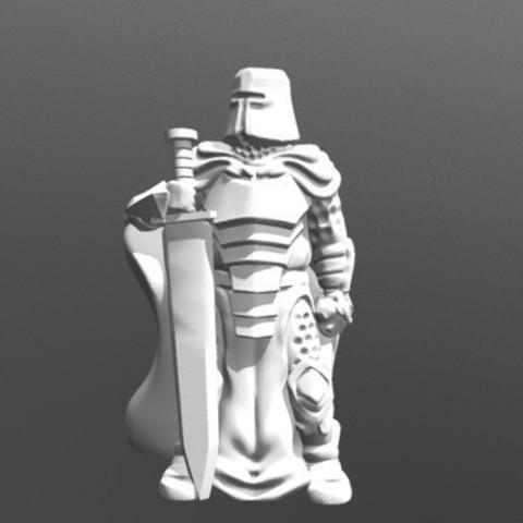 Download free 3D printer designs Knight w/Greatsword (28mm/Heroic scale), Dutchmogul