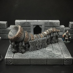 Free 3d printer designs Delving Decor: Dwarven Great Horn (28mm/Heroic scale), Dutchmogul
