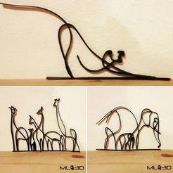 Descargar archivo 3D gratis Elefantes Una Línea Animales, DrewFen
