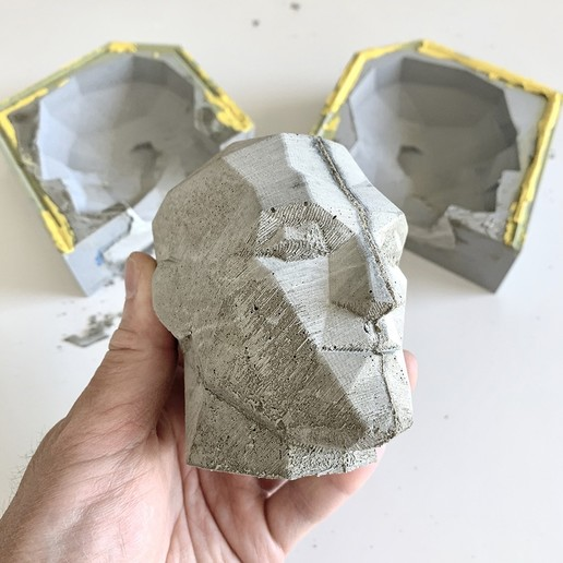 Download 3D printing files Mold for Concrete Low Poly Head, biglildesign