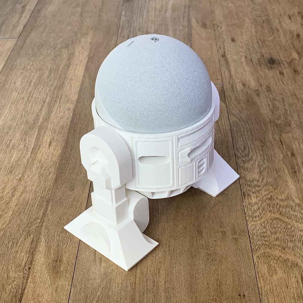 Droid Echo Dot Holder_04_72dpi.jpg Download STL file Droid Echo Dot (4th Gen) Holder • 3D printing object, biglildesign