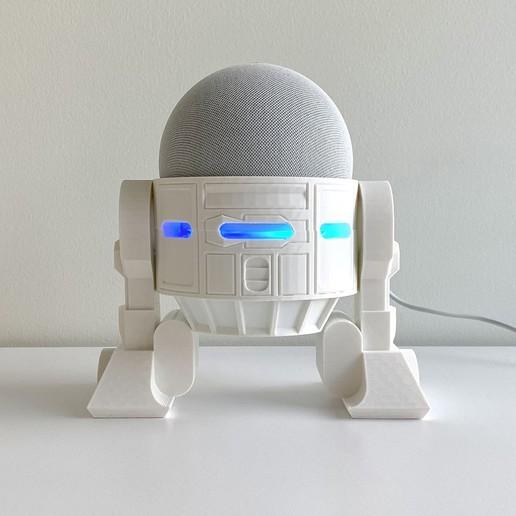 Droid Echo Dot Holder_01_72dpi.jpg Download STL file Droid Echo Dot (4th Gen) Holder • 3D printing object, biglildesign