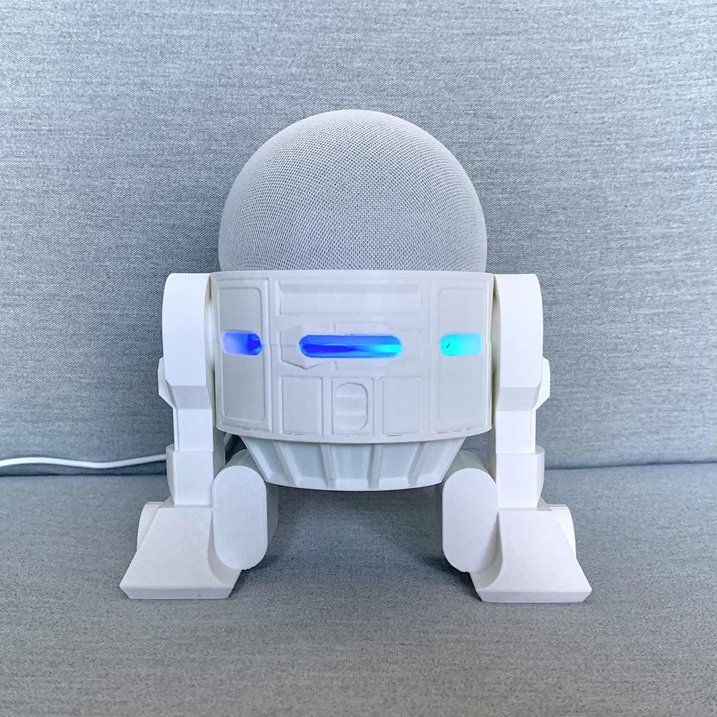 Droid Echo Dot Holder_02_72dpi.jpg Download STL file Droid Echo Dot (4th Gen) Holder • 3D printing object, biglildesign