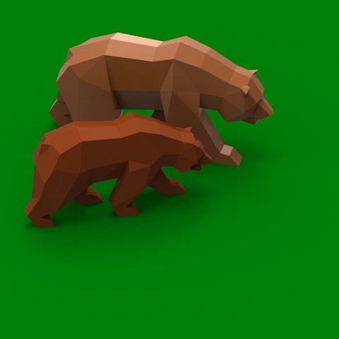 Bears_Edit.jpg Descargar archivo STL Low Poly California Grizzly y Nueva República de California • Modelo para la impresora 3D, biglildesign