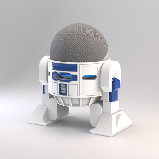 Droid Echo Dot Holder_10_72dpi.jpg Download STL file Droid Echo Dot (4th Gen) Holder • 3D printing object, biglildesign
