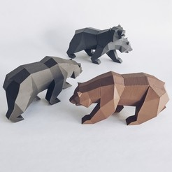 Download STL file Low Poly California Grizzly and New California Republic • 3D printing template, biglildesign