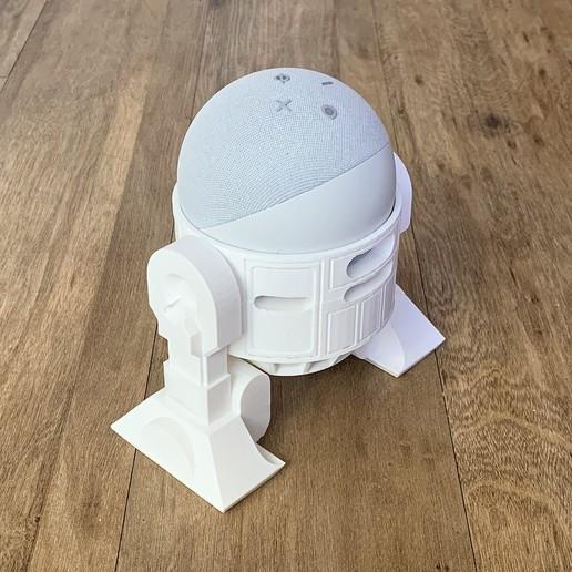 Droid Echo Dot Holder_05_72dpi.jpg Download STL file Droid Echo Dot (4th Gen) Holder • 3D printing object, biglildesign
