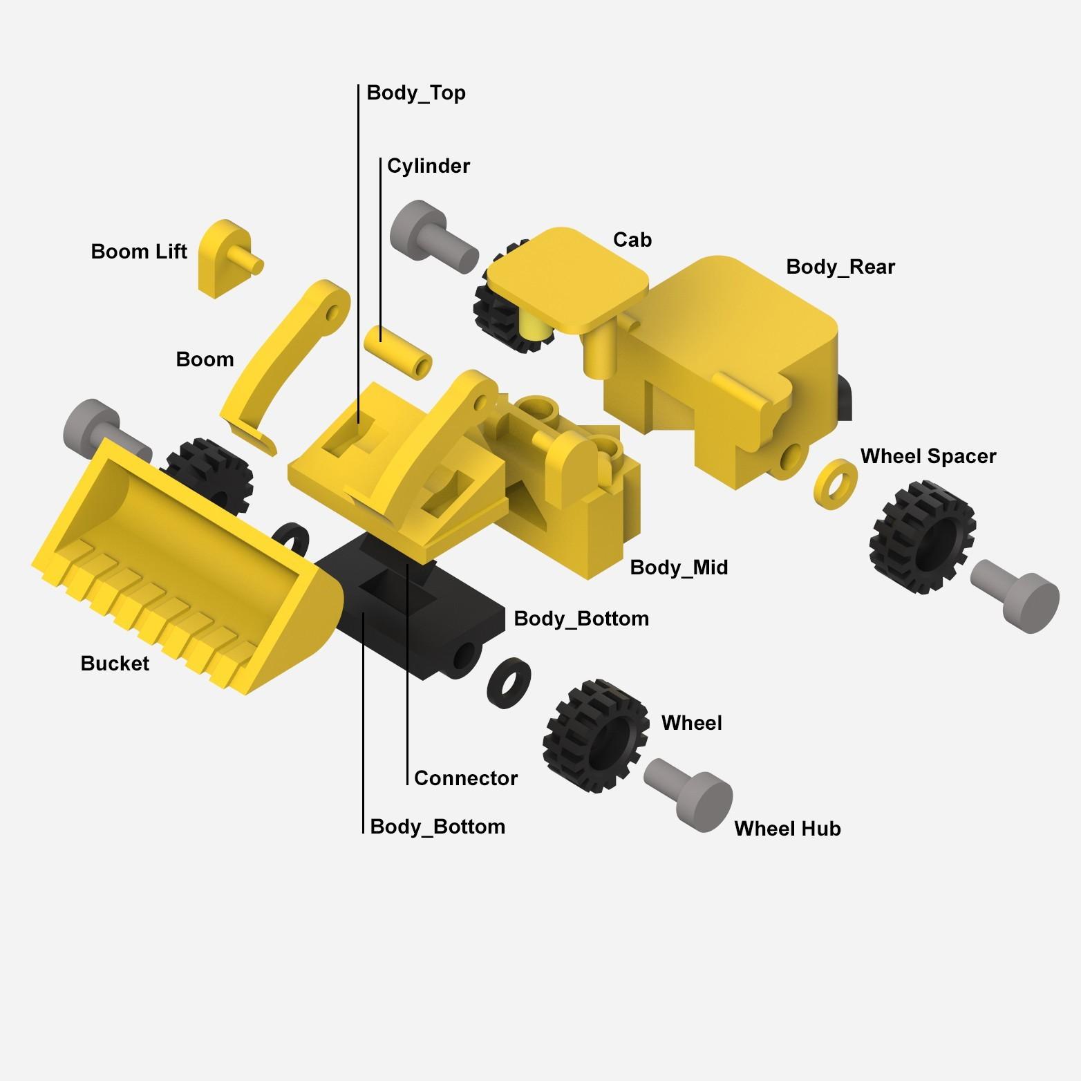 Exploded2.jpg Download STL file LiL FRONT LOADER • 3D printable template, biglildesign