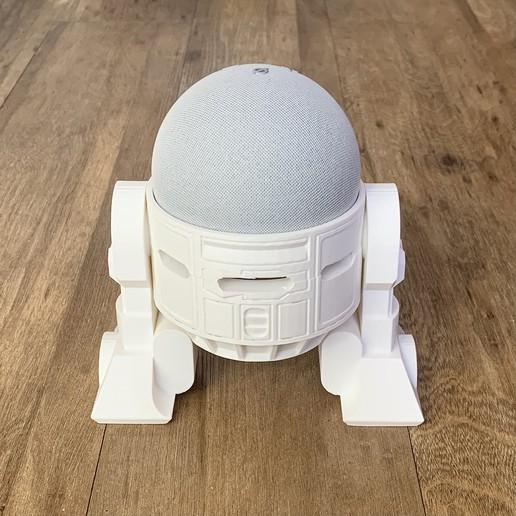 Droid Echo Dot Holder_03_72dpi.jpg Download STL file Droid Echo Dot (4th Gen) Holder • 3D printing object, biglildesign