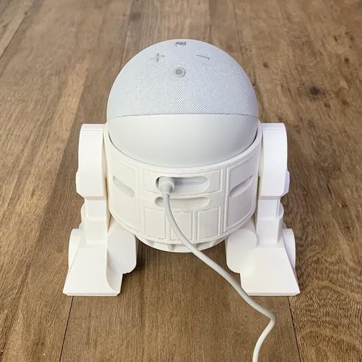 Droid Echo Dot Holder_06_72dpi.jpg Download STL file Droid Echo Dot (4th Gen) Holder • 3D printing object, biglildesign