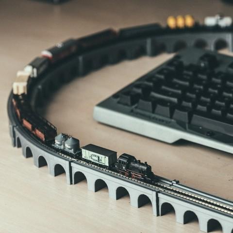 Download free STL Z Scale Viaduct Track Set, jeh241_makestuff