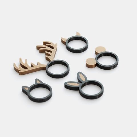 Impresiones 3D gratis Colección de animal del anillo - extrusión doble versión, flowalistik