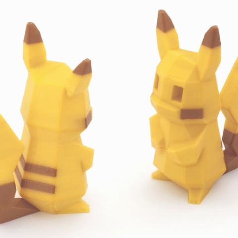 plan 3d gratuit Low-Poly Pikachu  - Version extrusion multiple et double, flowalistik