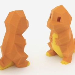 Descargar modelo 3D gratis Low-Poly Charmander - Versión extrusión multiple et double, flowalistik