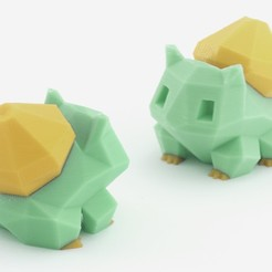 pokemon_dual_bulbasaur.jpg Télécharger fichier STL gratuit Low-Poly Bulbizarre - Version extrusion multiple et double • Plan pour imprimante 3D, flowalistik