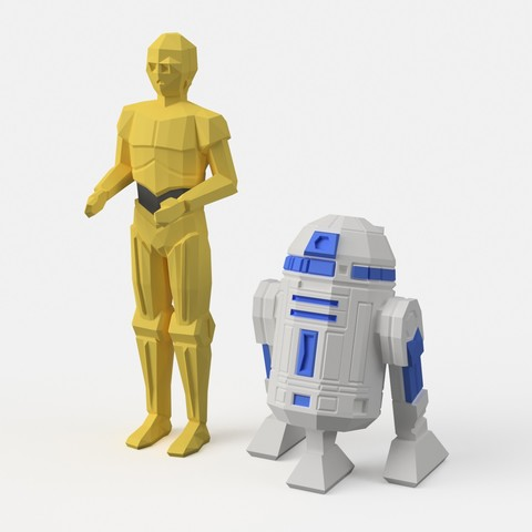 Fichier STL gratuit  Low-Poly R2D2 et C3PO - version double extrusion, flowalistik