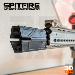 Download 3D printing templates 3DTAC / Airsoft Compensators: Spitfire, 3DMX