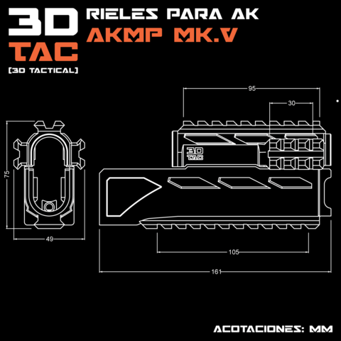 AKMP_Medidas.png Download STL file 3DTAC / AK Complete Modular Package (Airsoft only) • 3D printable object, 3DMX