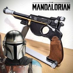 The Mandalorian Blaster Pistol.jpg Download STL file The Mandalorian / Deluxe Blaster 3D Model Kit w Display Base • 3D print template, 3DMX