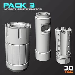 Download 3D print files 3TAC / Airsoft Compensators / Pack-3 (3 Models Included), 3DMX