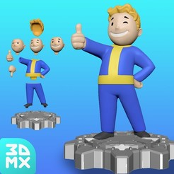 Download 3D printing templates Vault Boy / Multi-Part Deluxe  Sculpt, 3DMX
