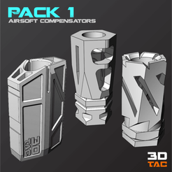 Download 3D printer files 3TAC / Airsoft Compensators / Pack-1 (3 Models Included), 3DMX